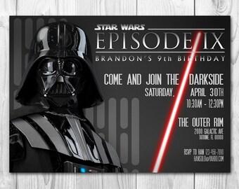 Star Wars Invitation - Darth Vader Invitation - Star Wars Birthday Invitation - Dark Side - FREE Thank you cards