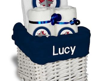 Winnipeg jets baby etsy personalized winnipeg jets baby gift basket bib 2 burp cloths small negle Choice Image