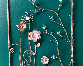 Copper Flowers Hanging Wall Art Picture Sculpture