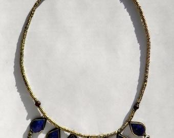 Handmade Vintage Afghan Lapis Lazuli Necklace, Hand Made Semi Precious Stone Necklace, Hand Made Semi Precious Stone Jewelry
