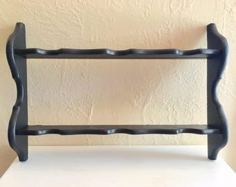 Large Black Wooden Wall Double Display Shelf - Ready to hang!
