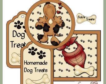 Make your own Dog Treat Jar - Labels and Tags - CU Digital Printable Kit - Great Gift Idea - Immediate Download