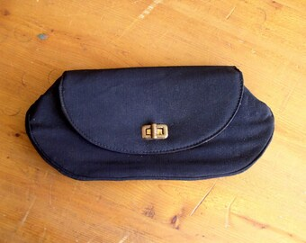Vintage 1950's Black Clutch / 50's Stylemark Faille Handbag with Brass Turnlock Clasp & Coin Purse
