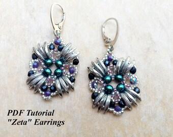 """Earrings Pattern, DIY Earrings, Beaded Earrings, Beading Tutorial, Earring Beading, Bead Pattern, Beadweaving Earrings, """"Zeta"""" Earrings"""