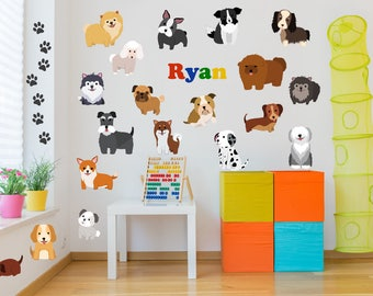 Name Wall Decals, Dog Wall Decals, Dog Theme Decor, Dog Theme Nursery, Kids Room Wall Decals, Dog Wall Art, Dog Theme Kids Room