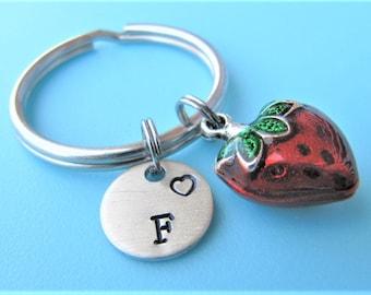 Strawberry Keychain, Strawberry  Key ring, Initial Keychain, Personalized Keychain, Cute Keychain, Fruit Keychain, Custom Keyring, Berry Key