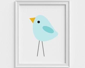 Oiseau bleu impression d'Art, estampes d'Art pour les enfants, estampes d'Art pour chambre d'enfant, Kids Wall Art, Art mural chambre d'enfant, les enfants estampes moderne, décoration murale de chambre à coucher pour enfants