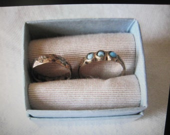 antique baby rings...lot of 2 plus box