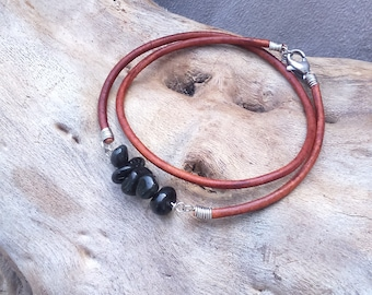 Bracelet ethnic, Bohemian, two wraps of leather, stainless steel and Obsidian