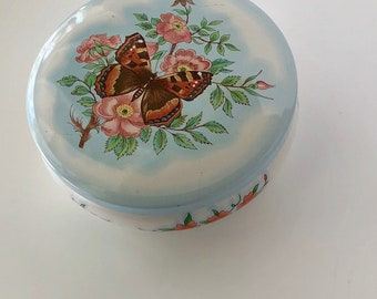 Super Cute, Short and Round Daher Tin Canister - With Butterfly and Floral Detail - Great Mother's Day present or just general storage tin!