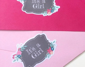 It's a girl baby shower envelope seals, baby shower invites, Girl baby shower labels, envelope seal stickers, baby shower seal stickers, 048