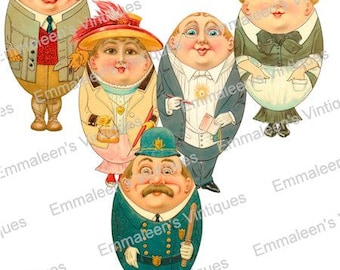 5 Vintage Shabby Egg People Retro Easter Digital Download Images — Printable Ephemera
