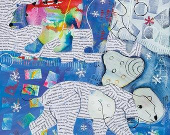 Polar Bear card, Christmas card, Polar Bear Christmas card, Arctic Walk, collage bear, mixed media card, whimsical art, snowflakes, colour.
