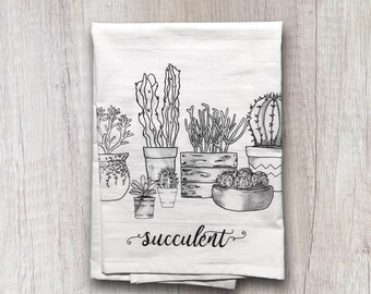Kitchen Towels, Flour Sack Towel, Succulents, Cactus, Hostess Gift, Dish Towel, Housewarming Gift, Gifts under 20, Home Decor, Dish Cloths