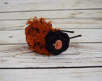 Ready to Ship Vintage Style Pumpkin Headband - Adult Halloween Accessory - Black and Orange Halloween Headband - Halloween Costume Pumpkin