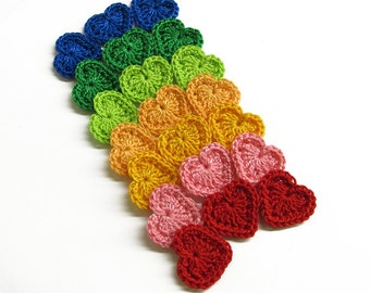 Crocheted tiny hearts 0.8 inches, 12 pc.,  colorful appliques, colourful mix