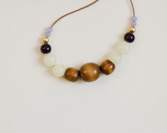 Adjustable bead choker strand necklace / navy blue, light green jade, gold, wood beads / short, long, beaded, layering, beadwork, mint green