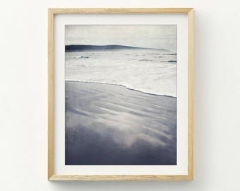 "Black and white beach photography serene seascape misty California beach gray minimal large ocean wall art  ""Grays and Mist"""
