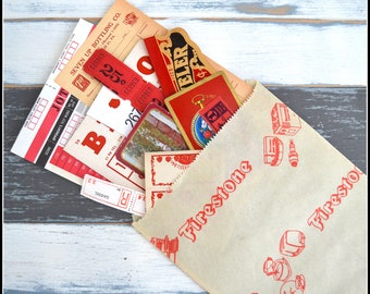 Assorted Red Themed Vintage Papers / Labels / Cards - Vintage Ephemera - Paper Ephemera