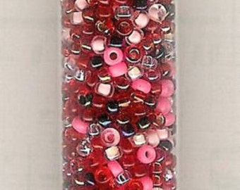 11/0 Miyuki Seed Bead Strawberry Fields Mix-24 gram/5 inch tube, Japanese Red Seed Bead, 11/0 Seed Bead, 2mm Glass, 11/0 Valentines Day, Red