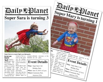 Printable Daily Planet Super Hero Photo Birthday Party Invitations