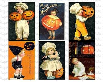 Halloween Postcard Digital Download Collage Sheet A 2.75 x 4 inch