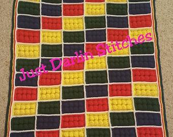 Crochet Lego Block Blanket