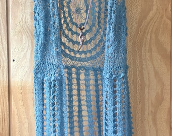 Crocheted Crochet Lace Fringe Vest Bohemian Boho Hippie Top Aqua Blue Long Festival Burning Man Coachella