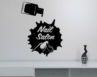 Nail Salon Window Sticker Vinyl Decal Manicure Fashion Wall Art Decorations for Office Spa Beauty Hair Salon Room Custom Decor nsl5