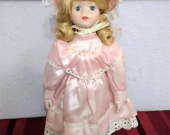 "PORCELAIN Doll HEAD Soft body Blond Hair Blue eyes Pink Dress 17"" TALL"