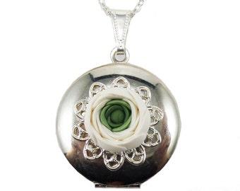 White Ranunculus Locket Necklace - Ranunculus Jewelry