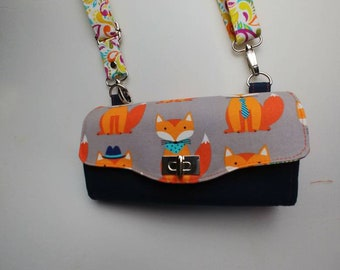 NCW wallet adjustable crossbody strap and wristlet dapper foxes