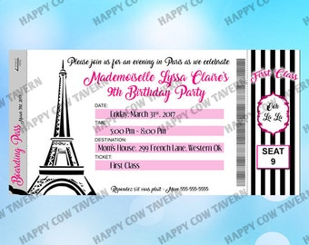 Paris Birthday Boarding Pass Invitation