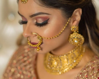 Gold Faux Nose Ring with Chain, Gold Nath with Polki Indian Jewelry Indian Wedding Jewelry Indian Nose Ring Indian Jewellery Round Gold Nath