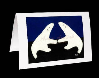 "Eskimo Greeting Card #7 ""The Double Bears of Nunavut"" by Annie Aculiak"