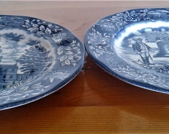 Vintage Bicentennial Plates Made in England Exclusively for Avon, Independence Hall and Liberty Bell