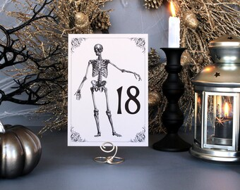 Halloween Skeleton Spooky Table Number Creepy Gothic Dark Black White Scary Fall Printable Wedding Party