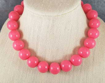 Statement Necklace, Coral, Pink, Big Bead Necklace, Pink Bead Necklace, Round Bead Necklace, Chunky Necklace, Strand Necklace