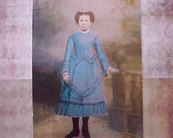 Hauntingly Beautiful Postcard of Young Victorian Girl
