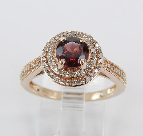 Garnet and Diamond Double Halo Engagement Ring Promise Ring Rose Gold Size 7 January Birthstone