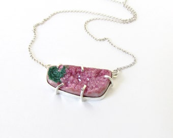 Pink Druzy Necklace, Sterling Silver Jewelry, Cobalto Calcite, Pink and Green, Gemstone Necklace