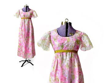 Boho Prom Dress 1960s Prom Dress Pink Prom Vintage Prom Dress 60s Prom Dress Pink Formal Dress Floral Prom Dress Extra Small XS Rose Print