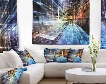 Designart Future Industry Abstract Wall Tapestry, Wall Art Fit for Wall Hanging, Dorm, Home Decor