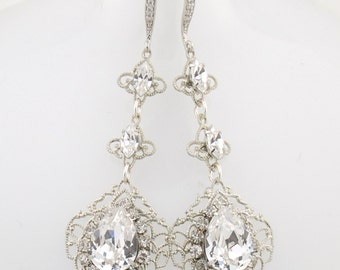 Swarovski crystal earrings - clear crystal - silver dangle earrings - crystal bridal earrings - wedding jewelry - Selene earrings