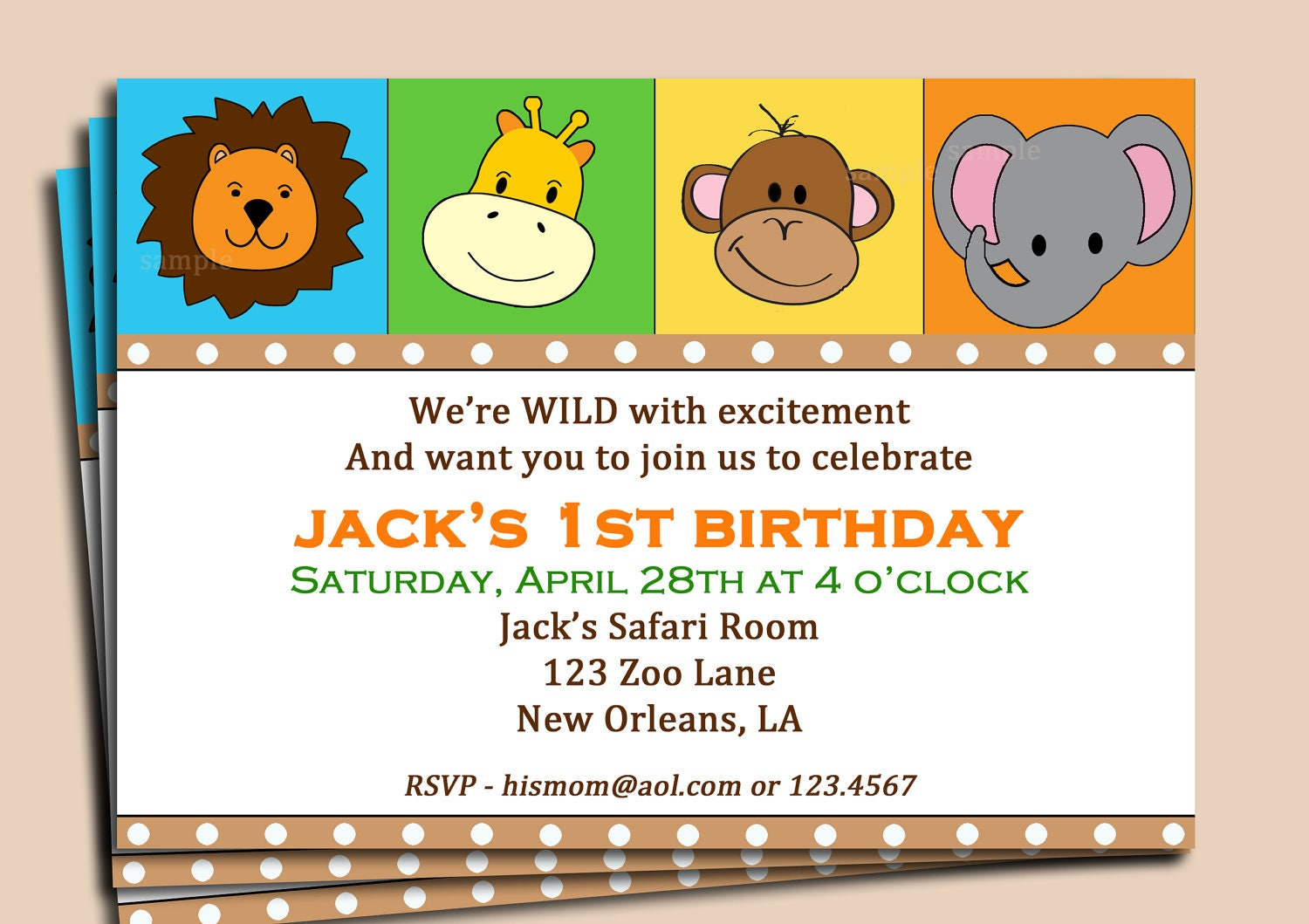 Animal invitation printable or printed with free shipping zoom stopboris Images