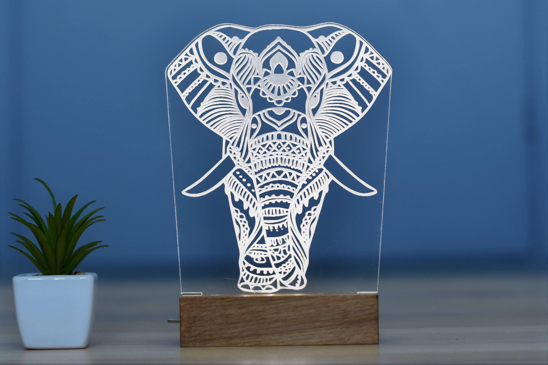 LED Night Light Elephant 3D oak Light Bedroom Decor Desk Lamp