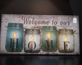 Welcome To Our Home - Wall Decor -Lights up!