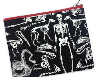 Skeleton Print Bag—Wristlet, Makeup Bag, Pencil Case, Pouch, Skull, Bones, Animal, Primate, Biology, Anatomy