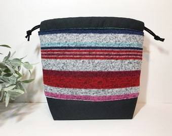Small Knitting Crochet Project Bag in Stripes