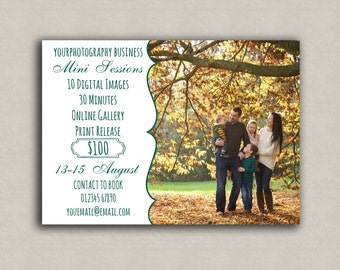 Photographer's Marketing Template Mini Session, one sided 5x7 marketing board, photoshop template, photography boards